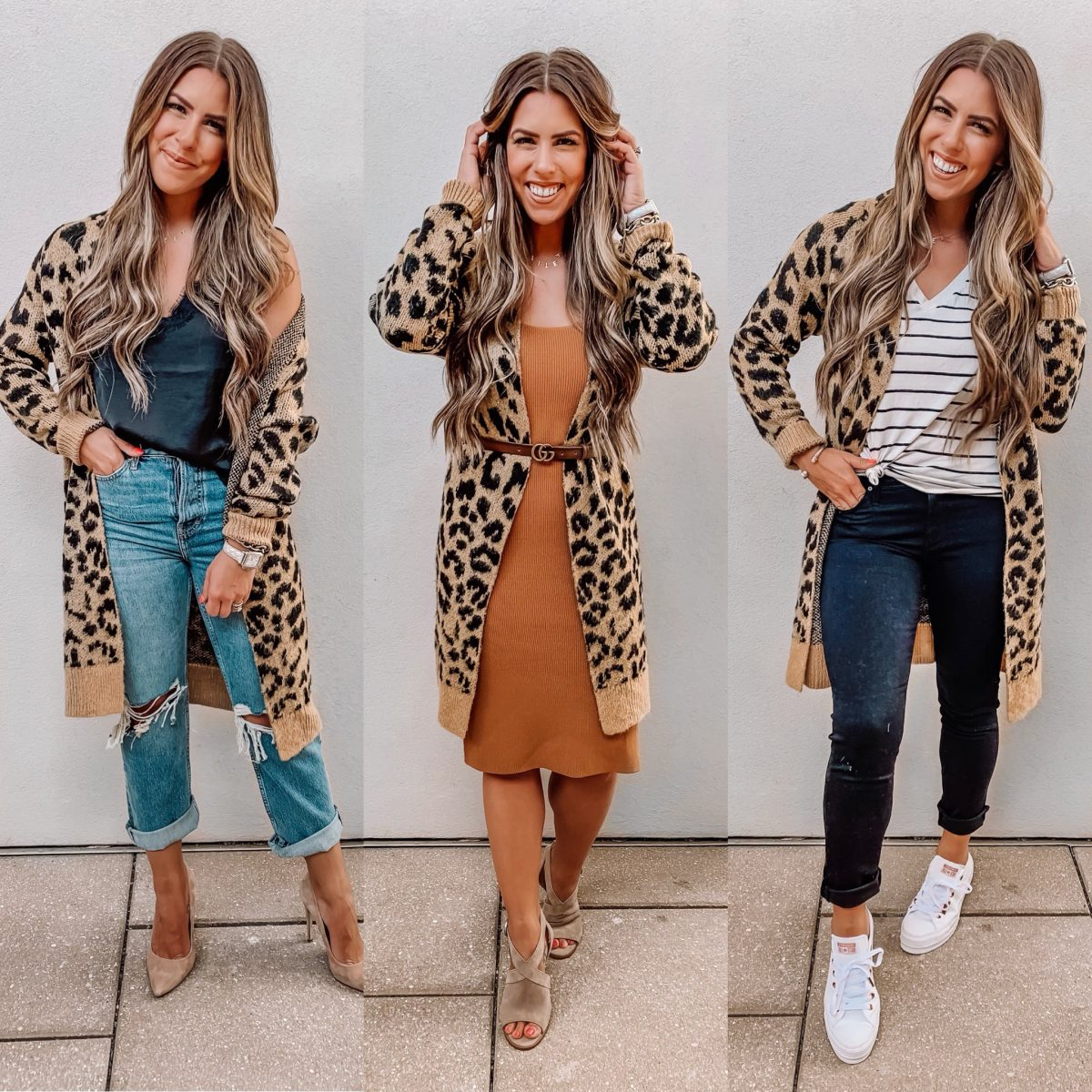 Nordstrom anniversary sale 2019 leopard cardigan styled three ways