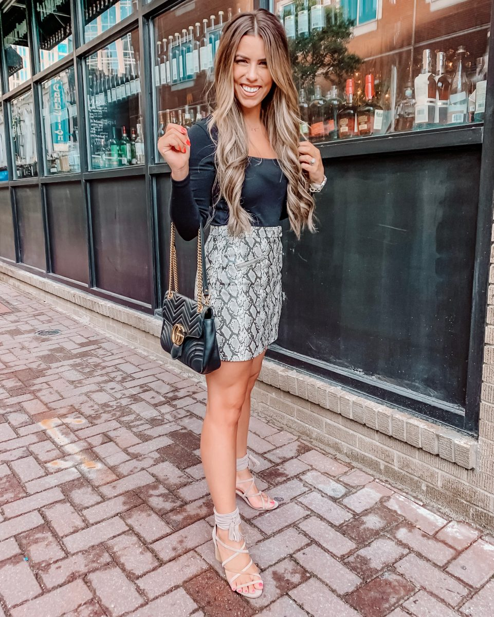 Nordstrom anniversary sale 2019 blanknyc snakeskin skirt going out outfit